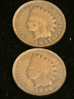 1897, 1898 Indian Head Cent G/VG Bronze, lot of 2 coins #ED2