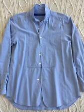 SAGE DE CRET Mens Light-Blue Washed-Cotton Long-Sleeve Button-Front Shirt M