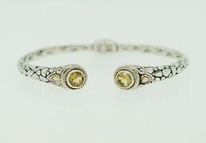 Robert Manse Sterling Silver & 18k Yellow Gold Citrine Balinese Cuff Bracelet