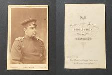 Schulz & Suck, Carlsruhe, Homme en uniforme militaire, circa 1870 CDV vintage al