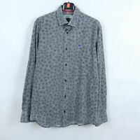ETRO Mens Grey Floral Long Sleeve Cotton Shirt SIZE Large, 41- 42