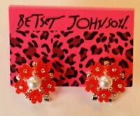 Betsey Johnson Crystal Rhinestone Enamel Pearl Flower Post Earrings