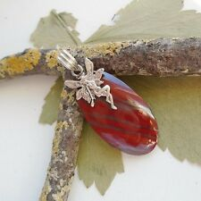 Jaspis, Engel Elfe rot braun Design Amulett Anhänger, 925 Sterling Silber neu