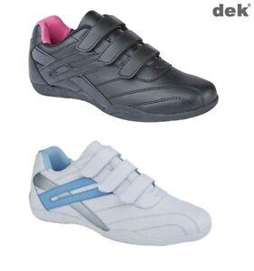 Ladies Girls Trainers Dek Touch Fastening Black White Raven Size 3 4 5 6 7 8