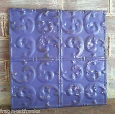 "12"" x 12"" Antique Tin Ceiling Tile *See Our Salvage Videos Purple Q15"
