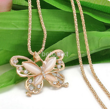 Fashion Women Rose Gold Opal Butterfly Charm Pendant Necklace Jewelry New FR