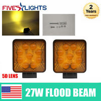 Amber 5D 2pcs 27W LED Work Light Bar Offroad Boat Truck Tractor SUV ATV Lamp