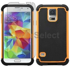 NEW Hybrid Rubber Case+LCD Screen Protector for Phone Samsung Galaxy S5 Orange