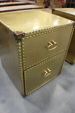 set of 2 End Table Night Stand 2 Drawers Brass riveted showroom items beautiful