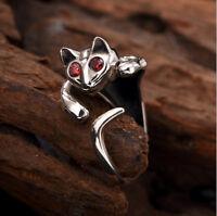 A02 Ring Katze Silber 925 mit Augen aus rotem Kristall größenverstellbar