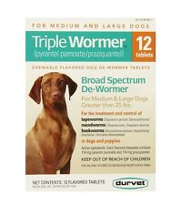 * Durvet Triple Wormer * for Medium And Large Dogs * 12*  Tablets *