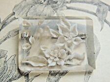 Charmante broche ancienne en Lucite décor Oiseaux & fleurs  - bijoux vintage.