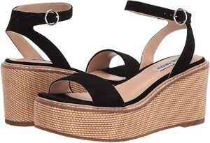 Women's Shoes Steve Madden COMPOSED Espadrille Platform Wedge Sandals BLACK