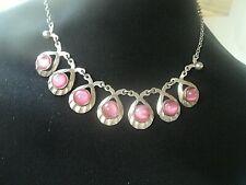 Danish Sterling Silver & Rose Quartz Necklace  c.1970s Hermann Siersbol  Denmark
