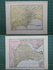 Naples Constantinople Victoria Vintage Original 1895 Crams World Atlas Map
