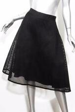 SEA NY Womens Black Hex Net Mesh Structured Lined Side Pleat Skirt US-10 NWT