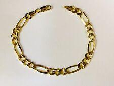 """14k Solid Gold Mens Figaro Curb Link chain/Bracelet 8.5"""" 6mm 10 grams FIG140"""