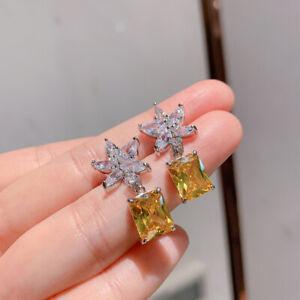 4.20Ct Emerald Cut Yellow Citrine Drop & Dangle Earring's 14K White Gold Finish