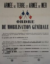 """""""ORDRE DE MOBILISATION GENERALE (GUERRE 1914-1918)"""" Affiche originale entoilée"""