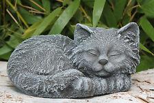 Steinfigur Katze schlafend Steinguss Schiefergrau Grabschmuck Gartendeko