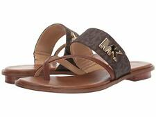 Michael KORS SIDNEY BROWN MINI MK GOLD LOGO THONG SANDALS US 6.5 I LOVE SHOES