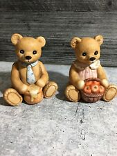 Set of 2 Harvest Bears figurines ~ #1405 ~ Homco - Home Interior ~ Euc honey pot