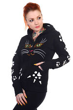 Banned Cat Face Hoodie ears & tail Kawaii goth cute Small UK 10