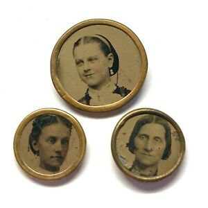 Antique Button ~ Awesome Trio of Young Lady Tintypes Set in Metal