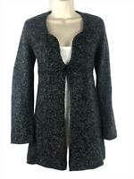 Max Studio Women's Black Gray Wool Blend Empire One Button Cardigan Sweater XS