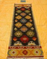 Spring Deal Flat-Weave Tribal Nomad Runner 2.6x8 ft Kilim Afghan Oriental Rug
