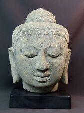 ancienne tête du Bouddha sculpture en pierre 24kg36cm Java rare et très déco
