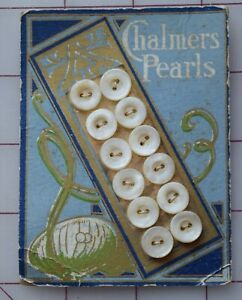 7693 Antique Chalmers Pearls mother of pearl shell button card, sea graphic