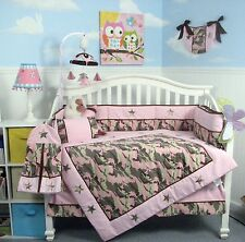 PINK CRIB BEDDING SET KHAKI CAMO Infant Baby Girl Nursery 13 Pc Quilt Sheet NEW