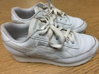 Reebok Classic Boys Size 4 Wide Running Athletic White Leather Shoes