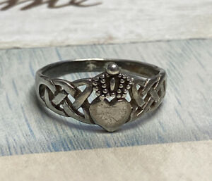 STERLING SILVER 925 IRISH CELTIC CLADDAGH RING HEART/CROWN SIZE 6-3/4