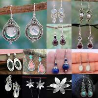 925 Silver RetroTurquoise Amethyst Moonstone Earring Hook Ear Drop Jewelry Gift
