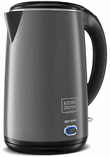 Electric Quick Boil Kettle - Stainless Steel Interior 1.8 Quarts, 1500W - Grey