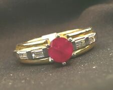 1 ct Round Red Ruby Baguette Diamond 14k Two-Tone Gold Ring Sz 6.5, 1.34ctw