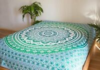 GYPSY OMBRE GREEN TAPESTRY THROW BEACH SHEET LARGE BEDSPREAD, WALL DECOR HIPPIE