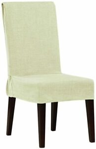 Sure Fit Textured linen polyester Dining Room Chair Slipcover ivory offwhite new
