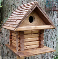 Log Cabin rustic house Bird wood wooden shingled roof Birdhouse garden-yard-Tree