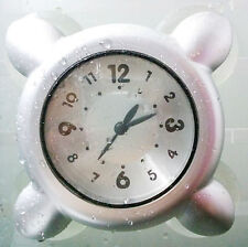 Waterproof Kitchen Glass Wall Shower Bath Clock 4 Powerful Suction Cup -Silver
