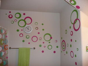 Circles Rings & Dots Wall Stickers Vinyl Decal 50+pc 2color Retro Mod Shapes NEW