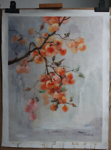 """Artwork Persimmon tree painting original oil on canvas signed in stock 24""""x32"""""""