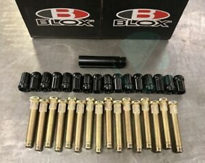 BLOX 16 PCS EXTENDED WHEEL STUD & BLACK  LUG NUT combo fits HONDA CIVIC INTEGRA