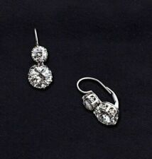 1.50 Ct Round Cut Moissanite Drop Dangle Earrings Lever Back 14k White Gold Over