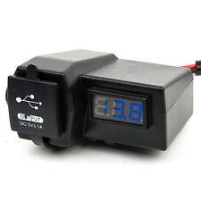 12V Dual USB Charger Port Car Cigarette Lighter Blue LED Voltmeter Socket Plug