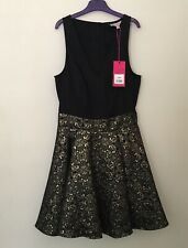 Be Beau Fit and Flare Jaquard Dress Black And Gold Size 10   (NWT)