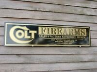 "NEW!!  EARLY STYLE COLT FIREARMS DEALER SIGN/AD 1'X46"" ALUM PANEL"