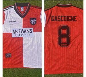 Glasgow Rangers Away Retro Football Shirt. 1995-96 Away. GASCOIGNE 8. Medium